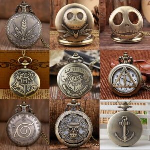 Pocket Watch Weed Skellington Harry Potter Hogwarts Deathly Hallow Naruto One Piece Anchor Keychain